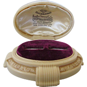 Art Deco Creme Celluloid Advertising Ring Jewelry Box, Los Angeles