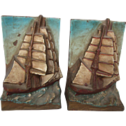 FINAL CLEARANCE  Pair of Nautical Ship Bookends, 1920's Arts & Crafts, Gorgeous Colors