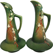 "Pair of Roseville Green Snowberry 10-1/2"" Tall Ewers,"
