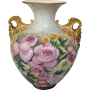 Breathtaking Large Belleek Hand Painted Handled Vase, Cherub Handles, Ceramic Arts Company, Circa 1900