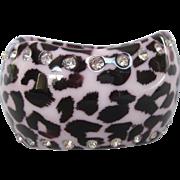 Chunky Wide Animal Print Rhinestone Studded Bangle Bracelet