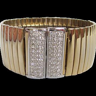 Sleek Goldtone, Silvertone and Rhinestone Wide Ribbed Expansion Bracelet, Magnetized Clasp