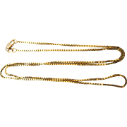 "Slinky 14K Yellow Gold Fine Gauge Square Snake Link 20"" Chain"