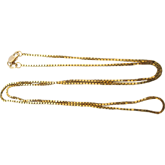 """Slinky 14K Yellow Gold Fine Gauge Square Snake Link 20"""" Chain"""