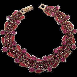 "Vintage Raspberry Rhinestone and Enamel 7"" Goldtone Bracelet"