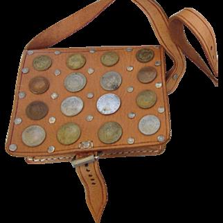Vintage Leather and Coins Shoulder Handbag