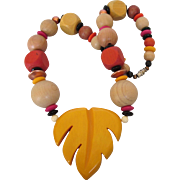 "Chunky Wood and Plastic Leaf 19"" Necklace, Vibrant Colors"