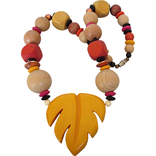 """Chunky Wood and Plastic Leaf 19"""" Necklace, Vibrant Colors"""