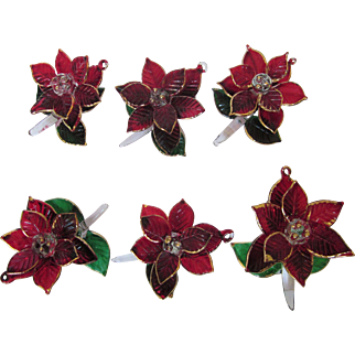 Vintage Set of Six Glass Poinsettia Dimensional Ornaments, Decorations