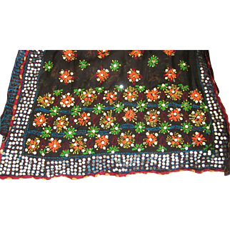 """Gorgeous Vintage 82"""" by 36"""" Silk Embroidered Beaded Shawl, Wrap, Coverlet, India"""