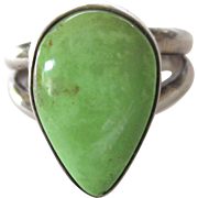 Sterling Silver Green Gaspeite Gemstone Ring, Size 6-3/4
