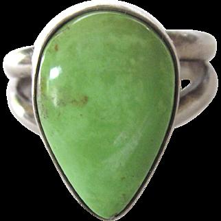 Sterling Silver Green Gaspeite Gemstone Ring, Size 6-3/4