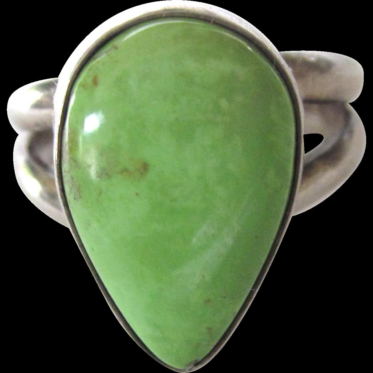 sterling silver green gaspeite gemstone ring size 6 3 4