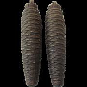 Pair of Vintage Pinecone Cuckoo Clock Weights