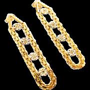 Vintage Chic 14K Yellow Gold Diamond Dangle Pierced Earrings