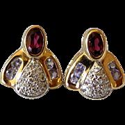 Irrestible 14K Diamond and Tanzanite Bumble Bee Pierced Earrings