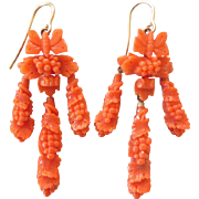 Exquisite Victorian Fancy Carved Coral Long Dangle Earrings - Butterflies, Grapes and Leaves