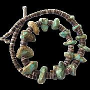 """Vintage Chunky Turquoise and Heishi 22"""" Necklace - Boho, Southwestern"""