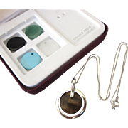 Sterling and Gemstone Interchangeable Discs Pendant Necklace With Chain, Original Box