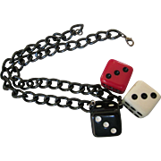 Fun Chunky Dice Dangle Plastic Necklace