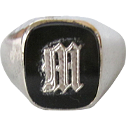 Vintage Initial M Signet Sterling and Black Onyx Men's Ring, Size 11-1/2