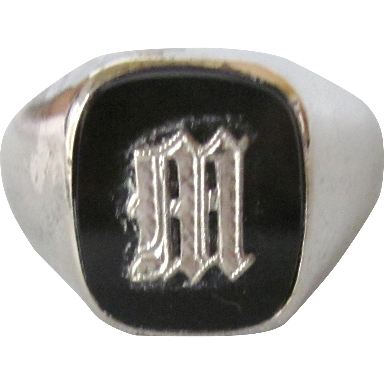 Vintage Initial M Signet Sterling And Black Onyx Men S