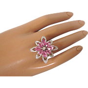 Dazzling Sterling and Raspberry Pink Crystal Cocktail Ring, 7-1/4