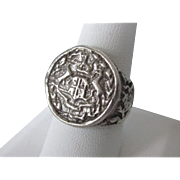 Vintage Sterling Silver Crest Signet Insignia Unisex Ring, Size 9-3/4