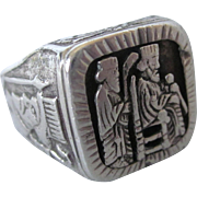 Fabulous Vintage Sterling Egyptian Figural Ornate Unisex Ring, Size 9-1/2