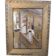 Carved and Painted Folk Art Framed Bohemian Painting, 1949