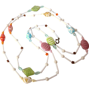 """50% OFF - Fantasy Pastels Glass Bead 50"""" Rope Necklace"""