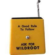 Vintage Advertising Yellow Plastic Tape Measure - Ask For Wildroot