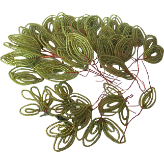 Collection of 41 Beaded Flower Green Leaves
