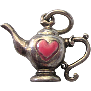 Sterling 3-D Teapot Charm With Enamel Red Heart
