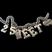 Vintage Sterling 2 Sweethearts Charm Bracelet