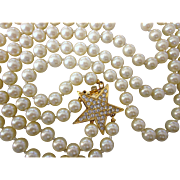 Joan Rivers Book Piece Two Strand Faux Pearl Opera Length Necklace, Rhinestone Star Clasp