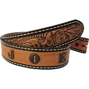 Tooled Embossed Leather Name JOE Personalized Belt - No Buckle