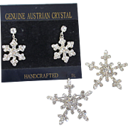 Sparkling Austrian Rhinestone Snowflake Pierced Earrings and Scatter Pins
