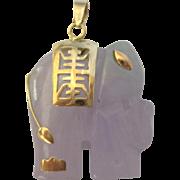Vintage 14K Gold Lavender to Green Jade Elephant Pendant