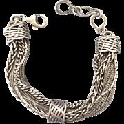 Unusual Chunky Sterling Silver Eleven Chain Slide Bracelet