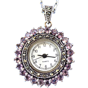 Lovely Sterling and Amethyst Gemstone Watch Pendant - Red Tag Sale Item