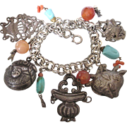 Rarefied Loaded Silver Chinese Gem Charm Bracelet