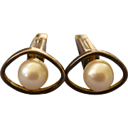 50% OFF - Mid Century K18 G.F. Cultured Pearl Cufflinks