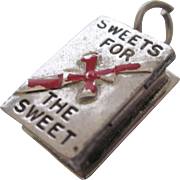 Vintage Sterling Enamel Sweets for the Sweet Box of Chocolates Charm, 3-D Mechanical