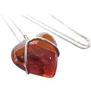 """Chunky Sterling and Amber Lucite Puffy Heart Pendant Necklace With 24"""" Sterling Chain"""