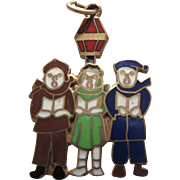 Vintage Gold Filled Enamel Group of Carollers Holiday Charm