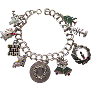 SALE!  Vintage Sterling  & Enamel Christmas Holiday Theme Charm Bracelet, 3-D Moveable