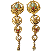 Runway 1980's Shoulder Duster Long Ornate Clip Back Earrings, Signed