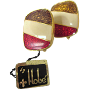 Signed Hobe Enamel Adjustable Clip Back Earrings, Original Tags