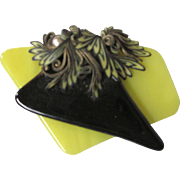 Vintage 'Op Art' Yellow and Black Glass Collage Brooch